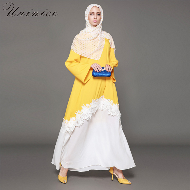 2fac51121bc42 Discount!! Casual Muslim Abaya Lace Cardigan Maxi Dress Ethnic Style ...