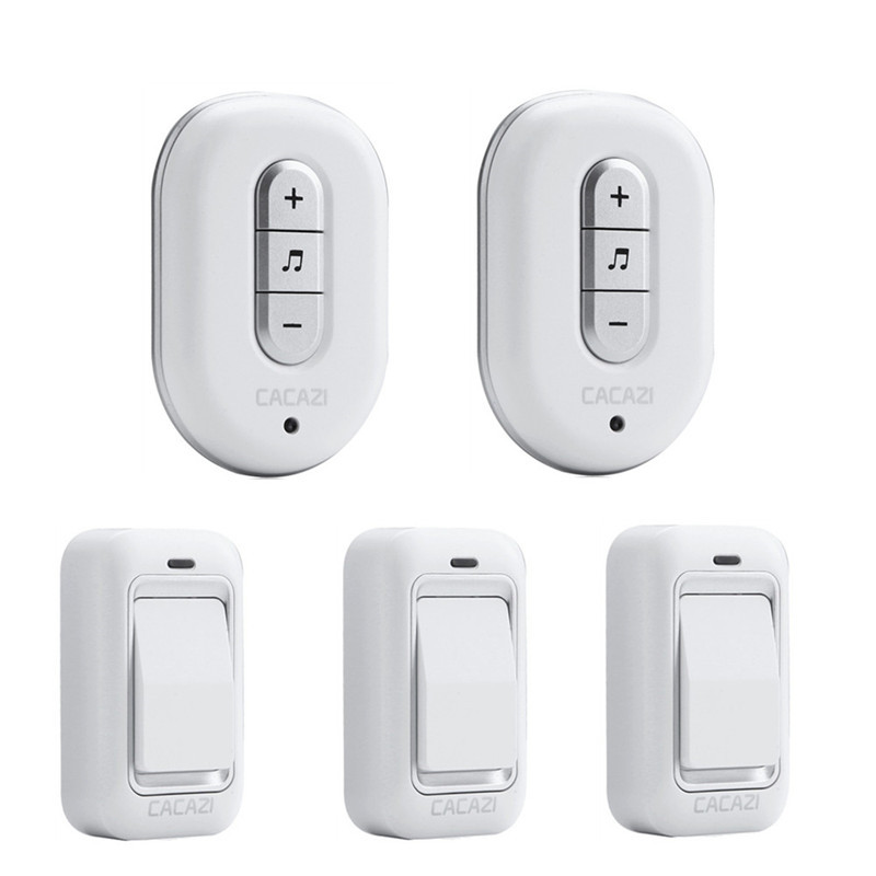 CACAZI Wireless DoorBell No Battery Need Waterproof smart Door Bell Cordless 120M Remote AC 110V-220V 3 transmitters+2 Receivers kinetic cordless smart home doorbell 2 button and 1 chime battery free button waterproof eu us uk wireless door bell