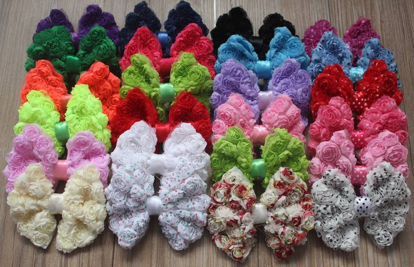 """50pcs 4.5 5"""" Chic Shabby Chiffon Rosettes Bow for Girls Hair Accessories,Hair Bow,Chiffon Bow for Kids Headbands-in Hair Accessories from Mother & Kids    1"""