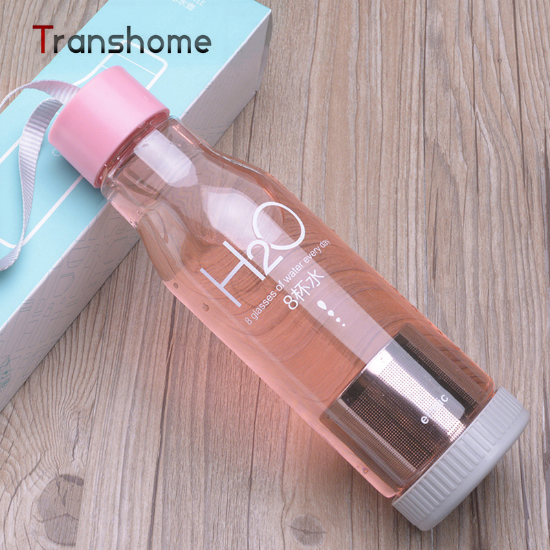 Transhome 550 ml mi botella de agua de plástico botella de infusión de té de inf
