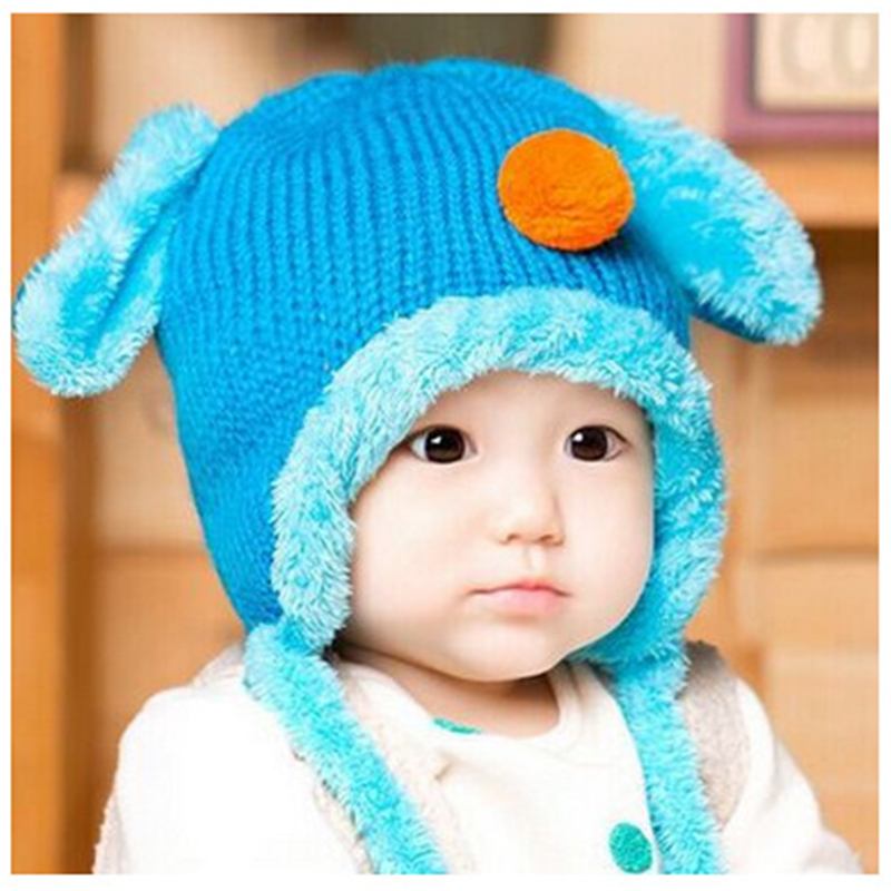 9b45de70fbe ADOMI 2017 Baby Girl Boy Plus Velvet Caps Cute Dog Design Baby Knitted Hat  with Ears Infant Toddlers Kid Winter Crochet Beanies-in Hats   Caps from  Mother ...