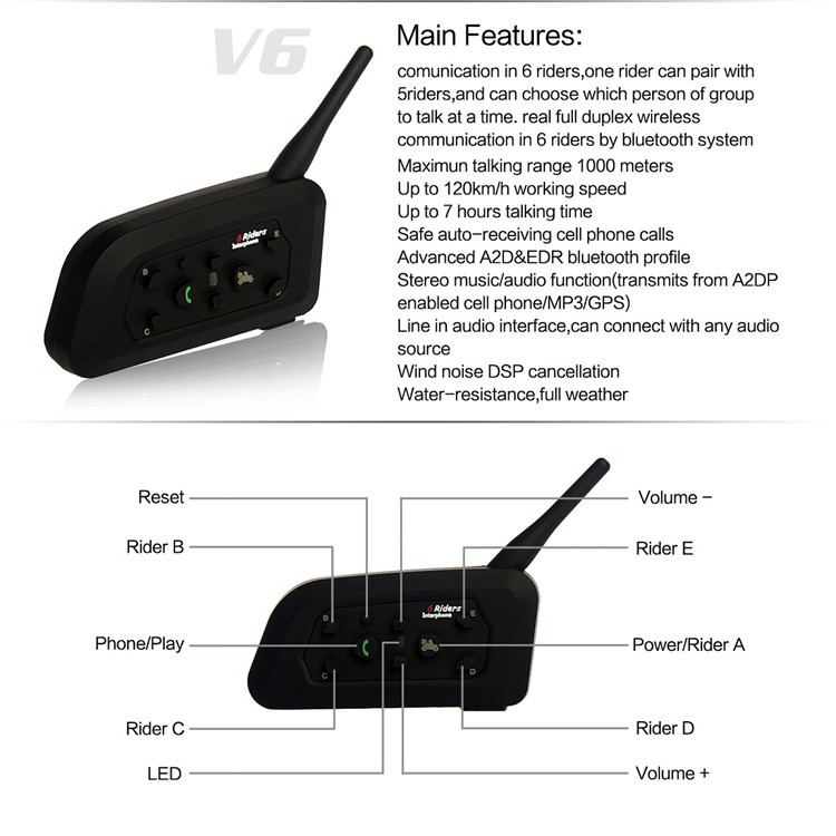1200M Soccer Referee  BT Intercom 2User Interphone Headset Support Max 6Users Full-duplex the Bluetooth Interphone V6C 1PCS(1)
