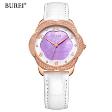 BUREI Brand Women Dress Watches 3ATM Waterproof Leather Strap Fashion Quartz Watch Luxury Wristwatches Ladies Hours 2017 New