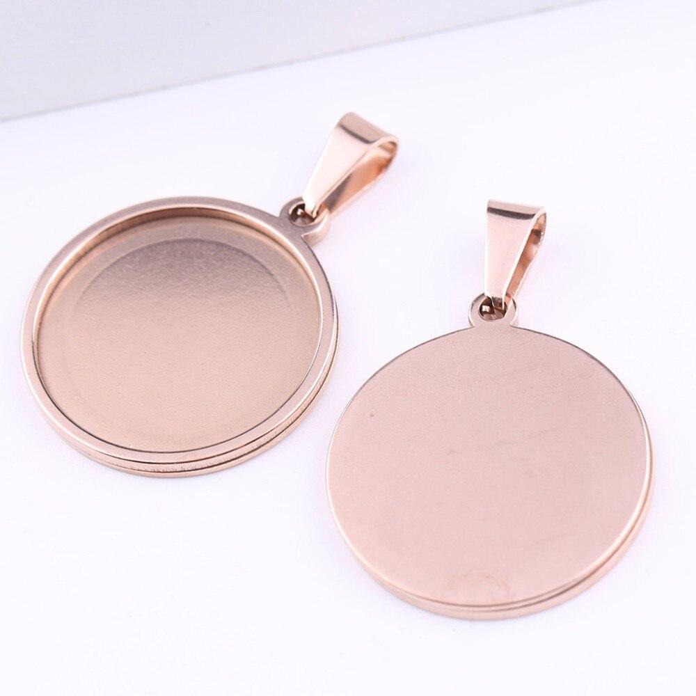 Onwear 10 pçs ouro rosa bandejas base de cabochão em branco aço inoxidável 25mm diâmetro em branco cameo bezel configurações diy jóias descobertas