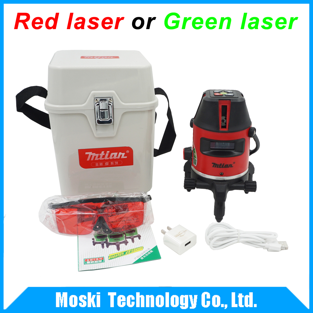 New 2017 model red or green laser level, 10X-light 5 lines 6 points 360 rotary cross laser line self leveling laser level 360 degree rotary cross laser cast thread can be used outdoor 2 lines 3 points green line laser level infrared laser