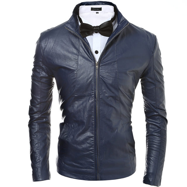 Free shipping 2017 autumn and winter fashion men's minimalist trend explosion models cultivating new solid color leather jacket