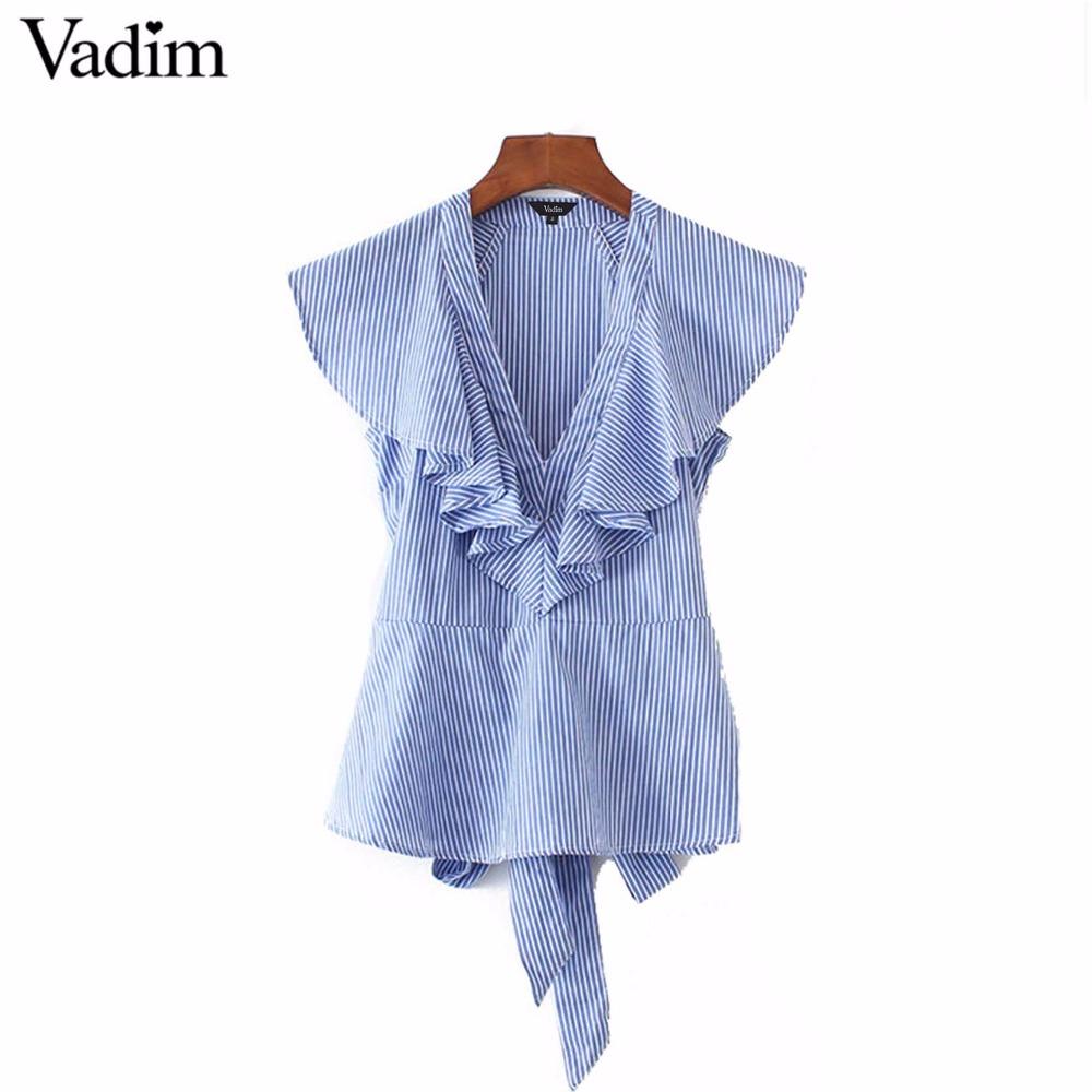 HTB1sNM RVXXXXbnXXXXq6xXFXXXS - Women sweet ruffles striped blue v-neck short sleeve