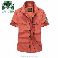 AFS JEEP Brick Red Navy Blue Size S To 4XL Summer Men S 100 Cotton Short