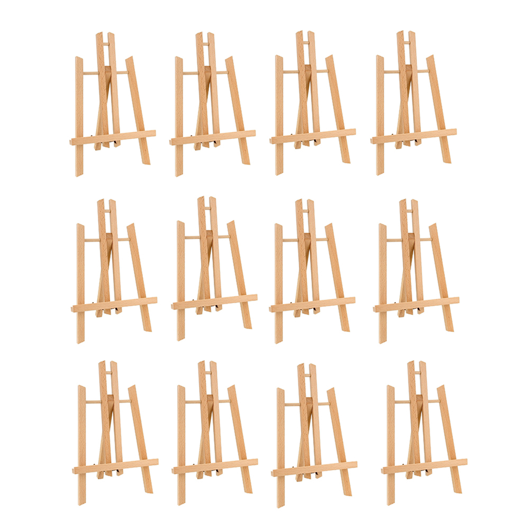 CONDA 11 inch Mini Wood Display Easel 12 Pack Wood Easels Art Painting Card Stand Display Holder Craft Small Acrylic Oil Project