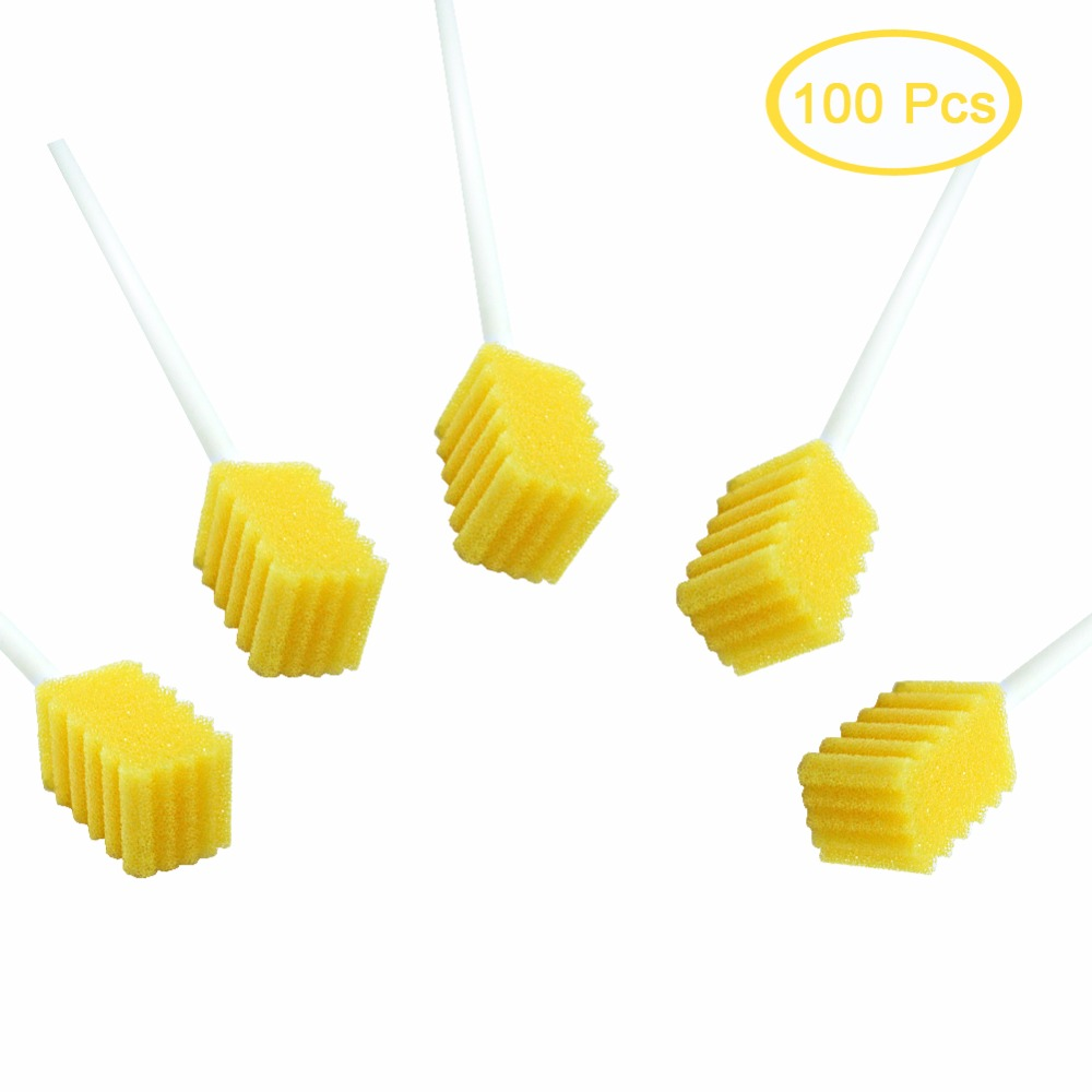 Disposable Oral Swab With Sodium Bicarbonate Oral Care Swab With Dentifrice Oral Hygiene Swab Treated Steriled Oral Brush 100pcs