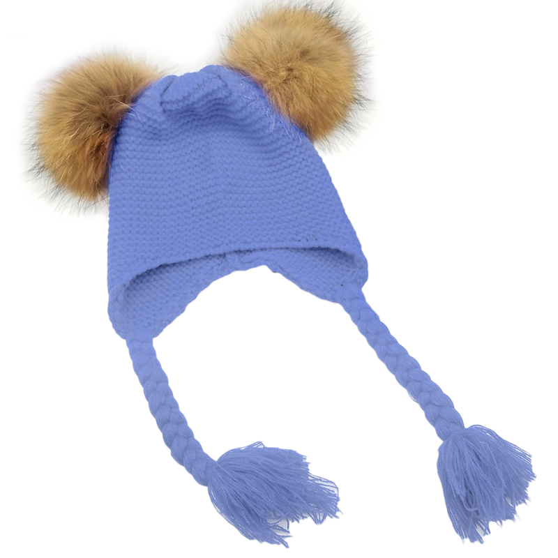 Winter Hat For Kids 2018 Baby Knit Beanie Hat For Children Double Fur Pom Pom Hats For Girls Boys Muts Cap