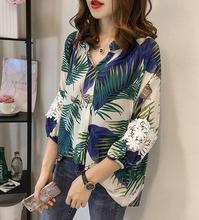 New Summer Tops For Women Print Bouses 2019 lace shirt Fashion 3/4 sleeve chiffon blouse Plus size ladies casual 4XL
