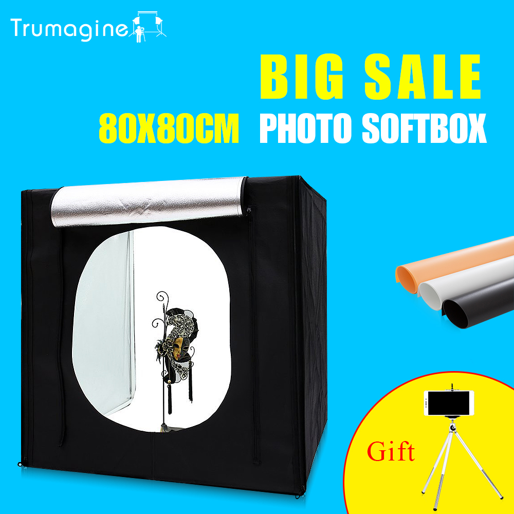 80*80*80CM Portable LED Photo Studio Lightbox Softbox Light Tent Shooting Softbox Photography Light Box  For Jewelry Clothing