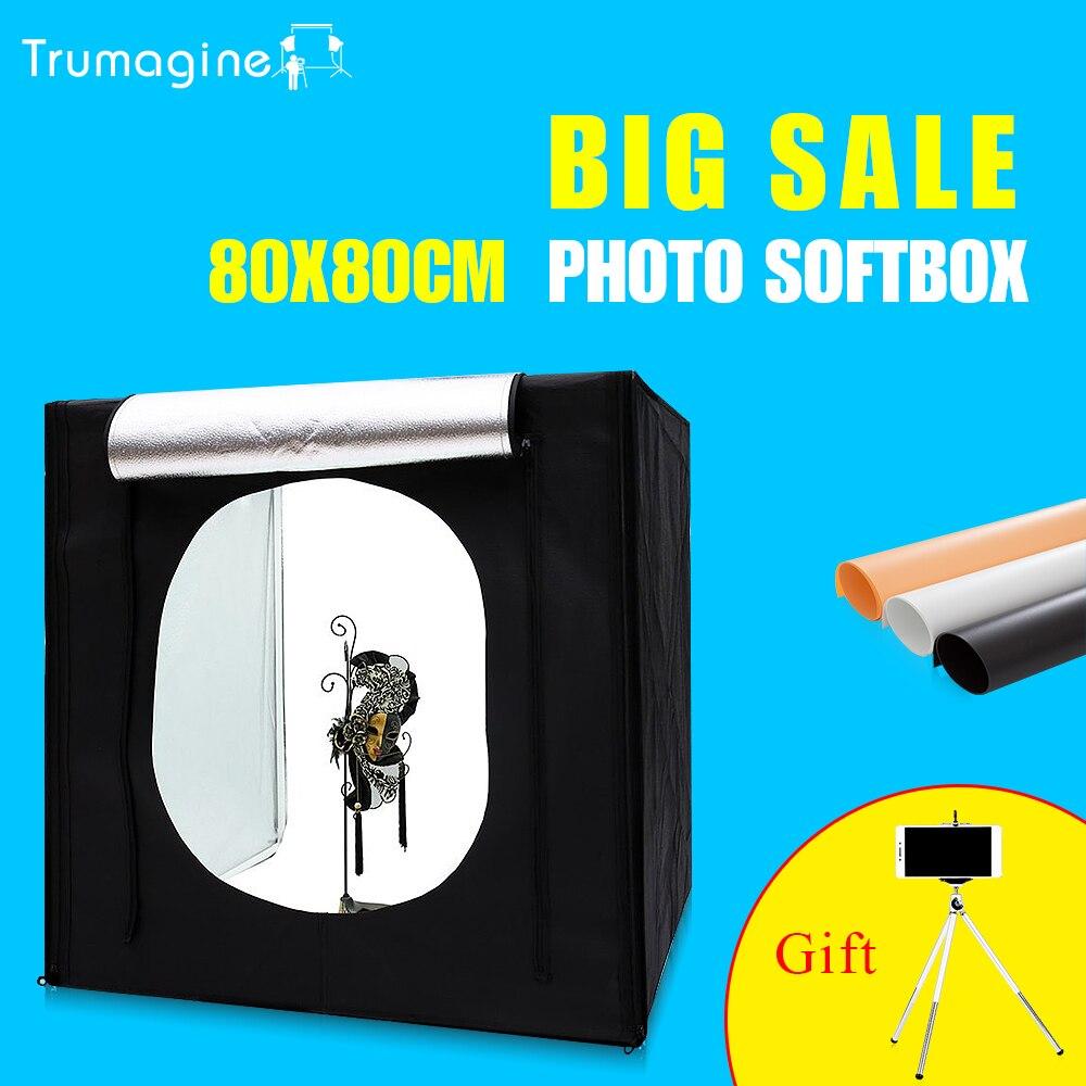 TRUMAGINE 80*80*80CM LED Photo Studio Lighting Shooting Softbox Photography Tent Kit + Background+Dimmer switch+Portable bag