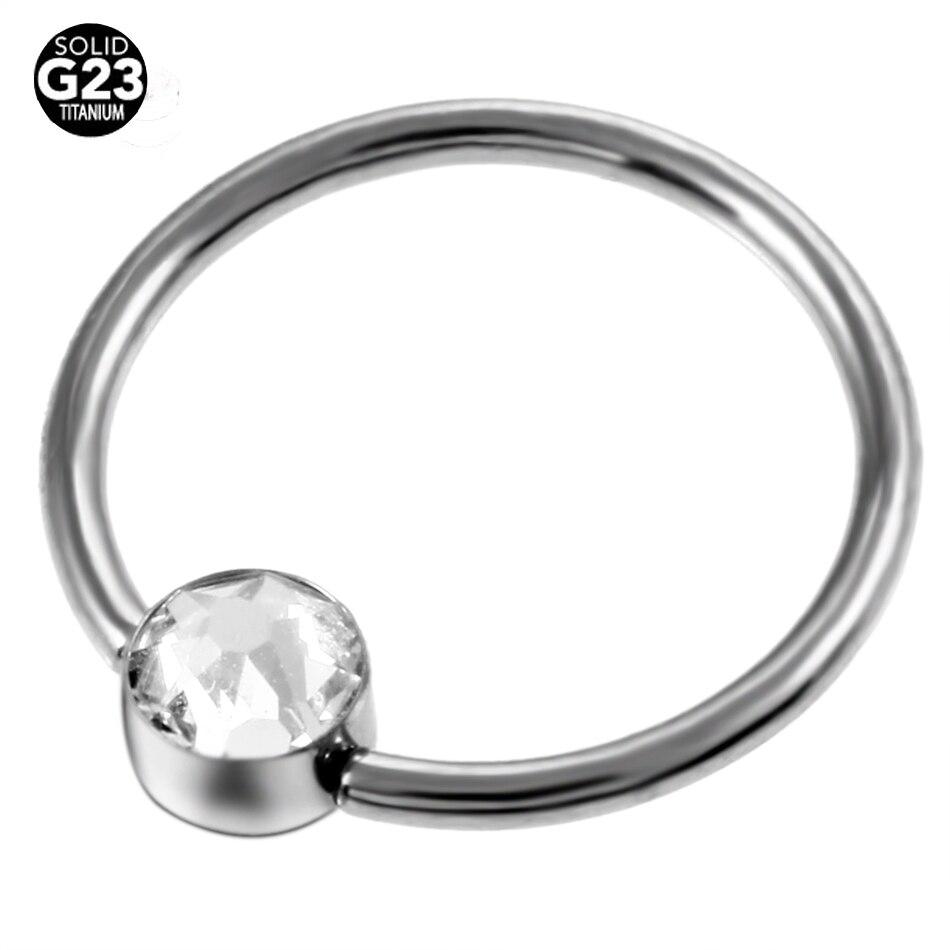 1pc 100% Titanium Captive Bead Nose Rings Flat Clip Ball Cbr Closure Rings  Nipple Piercings