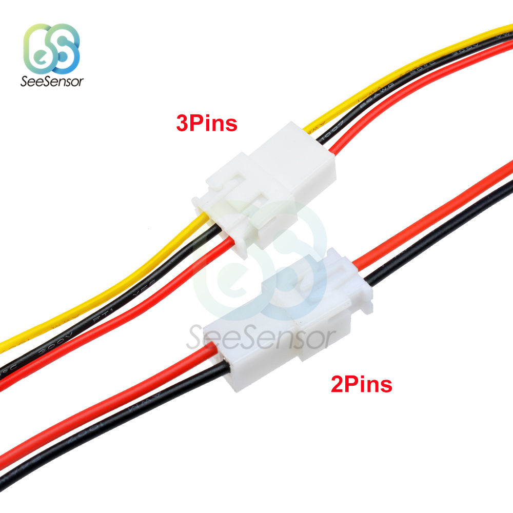 5Pairs XH2.54 2Pins 3Pins 2P 3P Pitch 2.54mm Wire Cable Connector XH Plug Male to Female Wire Connector 10cm 30cm Length