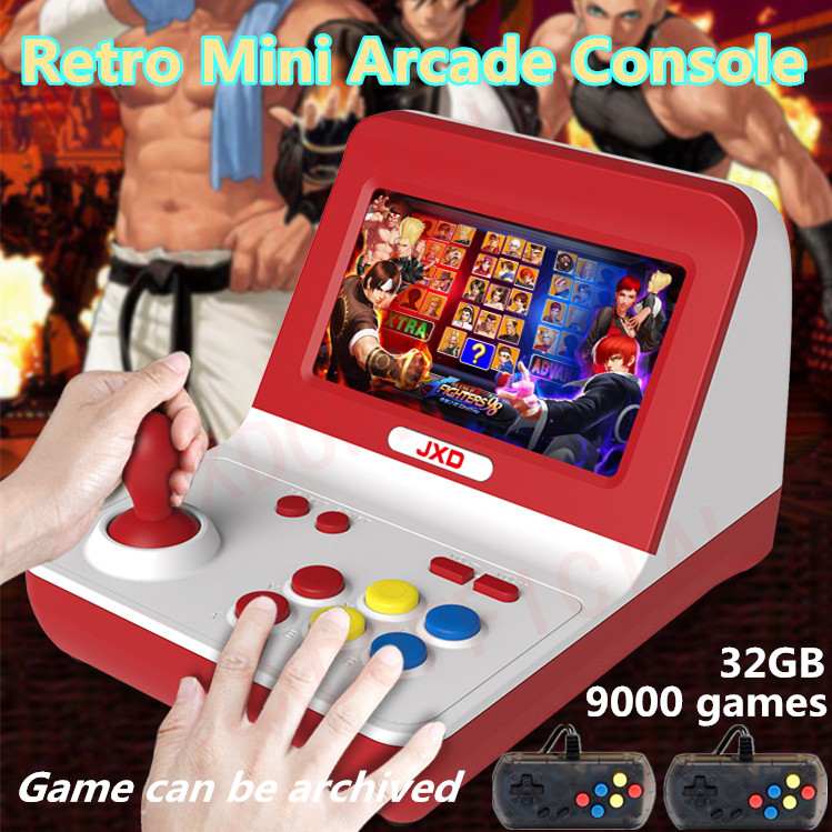 Novo JXD nostalgia clássica Grande roqueiro retro mini construir em 9000 jogo de arcada jogo de arcade console neogeo/cp1/cp2 /gbc/gb/sens/nes/smd mp3