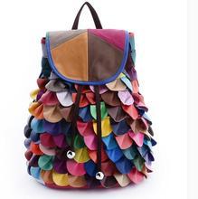 Цвет блока лоскутное женщин овчины рюкзак из натуральной кожи многонациональная женская сумка повседневная школьная сумка-рюкзак