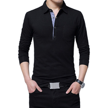 BROWON Autumn Men T-shirt Cotton Regular Fit T-shirt Comfortable Casual T-shirt Men Turn Down Collar Long Sleeve Plus Size 5XL