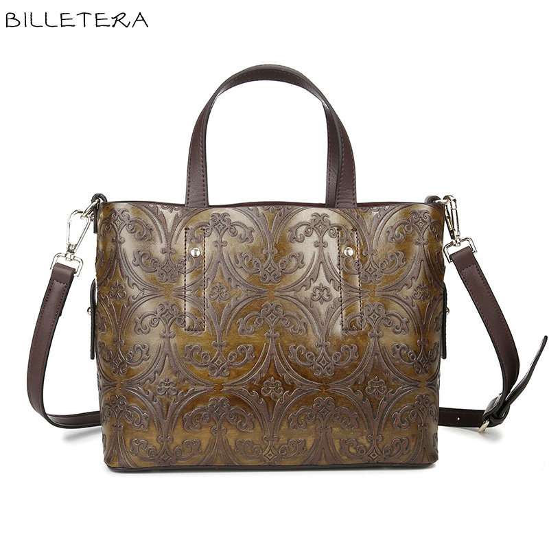 ФОТО BILLETERA Fashion Genuine Leather Women Totes Bags Shoulder Messenger Handbag Leather Bag for Women