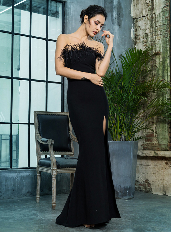Black Strapless Cut Out Feather Long Dress 8
