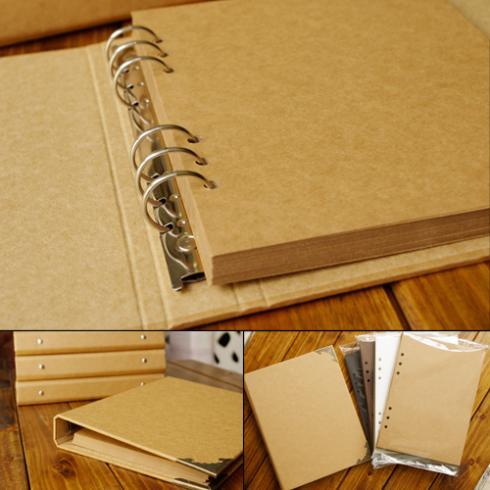 Blanco cubierta de Loose-Leaf álbum conciso de papel Kraft Diario pintado a mano Graffiti diario foto álbum para bebé boda 40 páginas