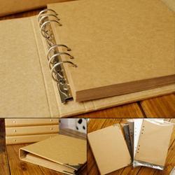 Cubierta en blanco álbum de hojas sueltas conciso diario de papel Kraft pintado a mano Graffiti diario álbum de fotos para amante bebé boda 40 páginas