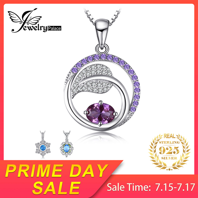JewelryPalace Leaf 1.4ct Created Alexandrite Sapphire Pendants 925 Sterling Silver Pendants Necklaces Without Chain Jewelry