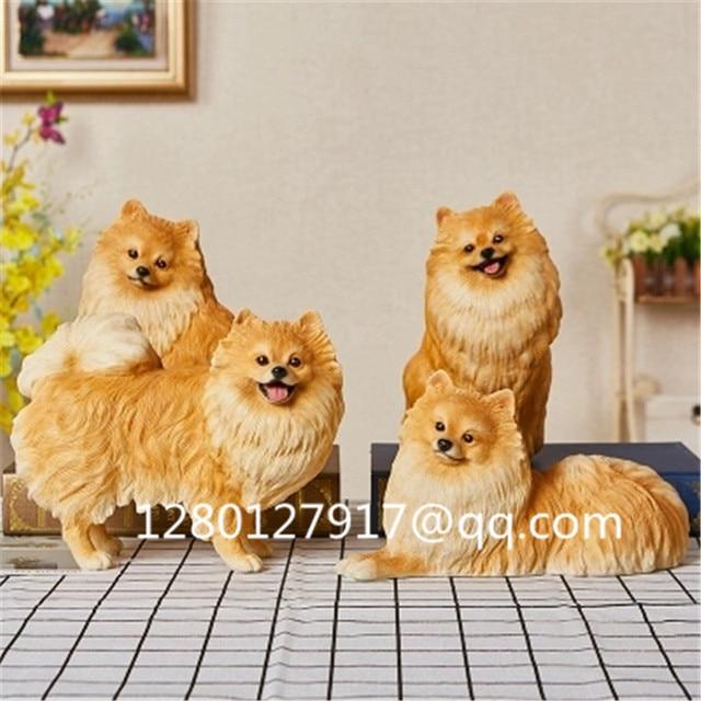 Simulation Dog Cute Puppy Statue Pomeranian Creative Home Decor