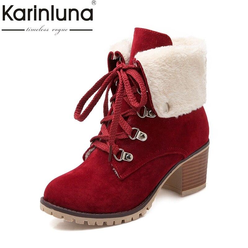 Karinluna/2017 г. Большие размеры 34-43 ботинки Martin Для женщин Модная женская обувь досуг добавить Обувь на теплом меху Кружево на шнуровке Зимние ботильоны на платформе