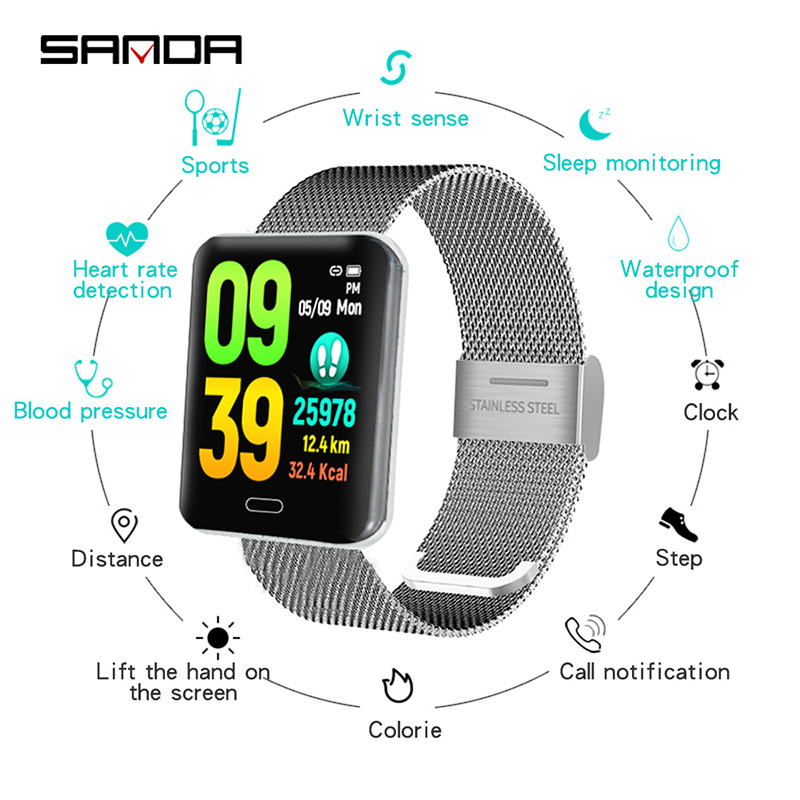 SANDA B8 Men Smart SPO2 13 Languages Digital Watch Female Call Reminder Heart Rate Monitor Watches Calorie Step Beauty Watches