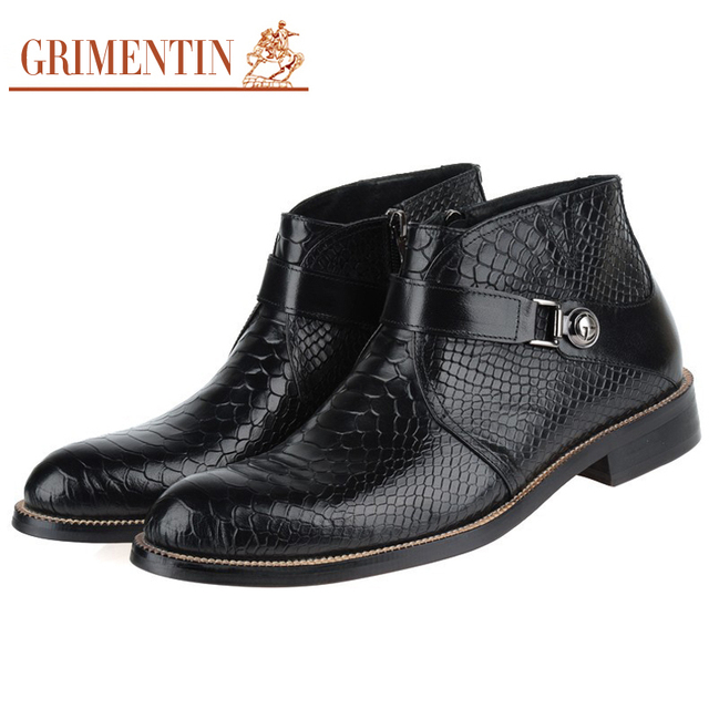 GRIMENTIN Fashion Luxury Brand Mens Boots Genuine Leather Crocodile Pattern Black Brown Italian Designer Dress Ankle botas BH1
