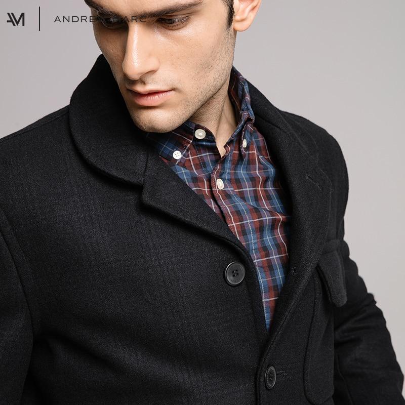 ANDREWMARC 2017 Man Wool Jacket Coat Vintage Leisure Autumn Winter Men Woolen Coats Male Jacket TM7AW277