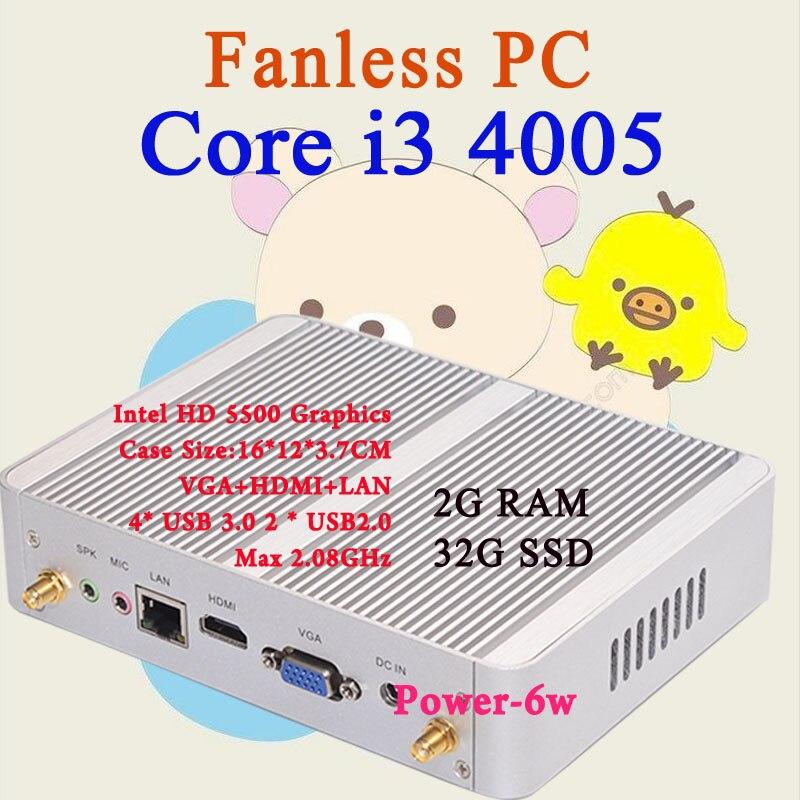 Mini PC Intel core i3 4005Y 2GB RAM 32GB SSD Max 2 08GHz VGA HDMI