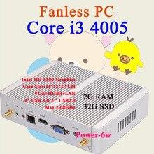 Мини-ПК Intel Core i3 4005Y 2 ГБ оперативной памяти 32 ГБ SSD Max 2.08 ГГц VGA HDMI 4 К HTPC Малый TV Box Windows 10 Безвентиляторный Barebone USB 3.0