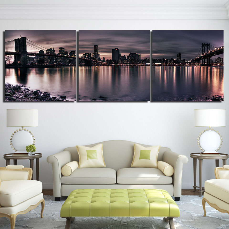 3 piece HD Printed lake shadow city night bridge Painting Canvas ...