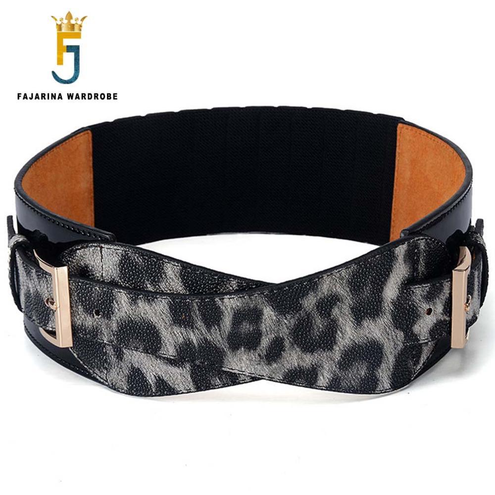 FAJARINA New Leopard Patent hovězí kůže Ma'am Elastic Force Belts Match Coat Decoration Dress Girdle Belt for Women LDFJ045