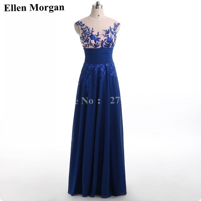 Royal Blue Corset Chiffon Prom Dresses 2018 Elegant Party Long Sexy ...