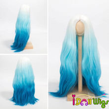 1/6 1/4 1/3 Scale BJD Wig Hair High Quality Heat Resistant Wire Long Wave White Blue Ombre Color Wigs