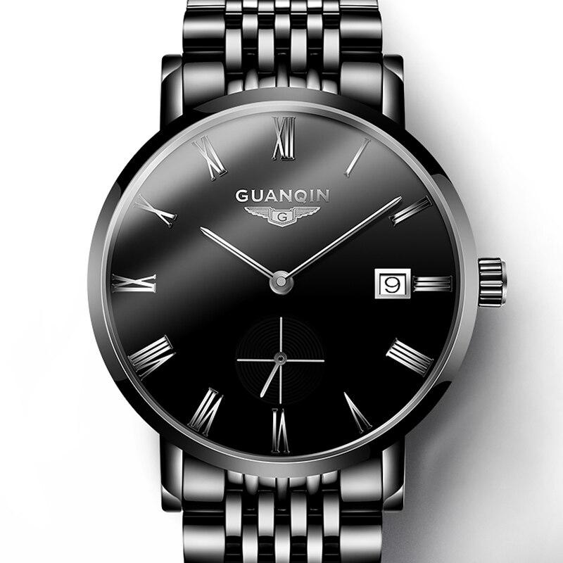 Guanqin 2019 relogio masculino 비즈니스 남성용 시계 자동 날짜 시계 남자 남자 시계 최고 브랜드 럭셔리 방수 날짜-에서기계식 시계부터 시계 의  그룹 1