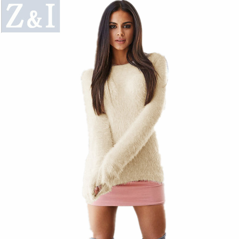 Z&I Women Autumn Sweaters Solid Fashion Long-sleeve Pullovers Winter Cloth