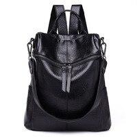 Vintage Women Backpack PU Leather School Backpacks Female Mochila Feminine Casual Large Capacity Shoulder Bags 236
