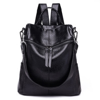 Vintage Women Backpack PU Leather School Backpacks Female Mochila Feminine Casual Large Capacity Shoulder Bags 236