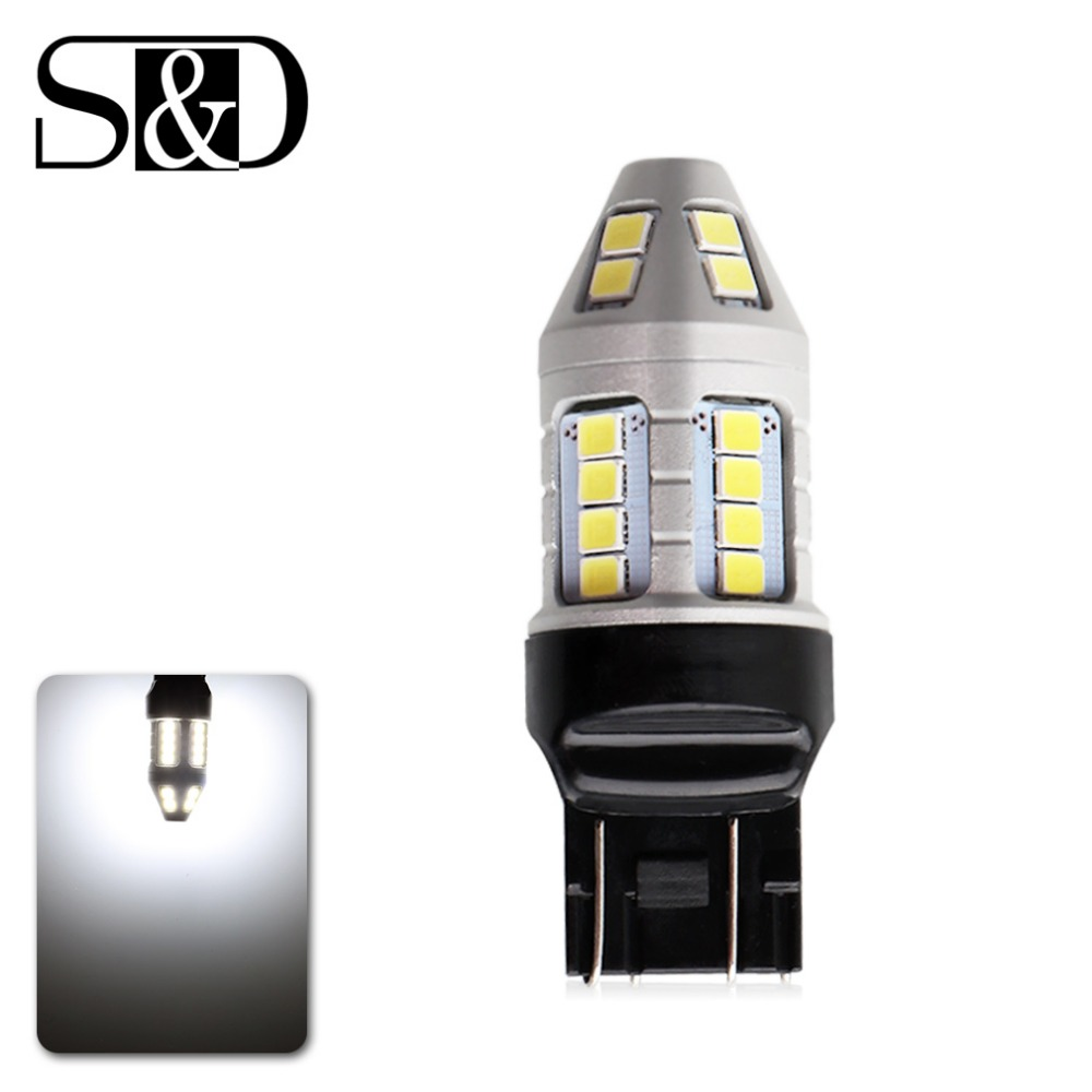 2 PCS T20 LED W21/5W 7443 Led Bulb 1200Lm Bright 2835 30SMD Brake Reverse Parking DRL Fog Light Backup Lamp Red yellow white cyan soil bay car auto t10 25w 30 led smd 4014 lamp parking reverse backup light w16w fog bulb ice blue red amber yellow white