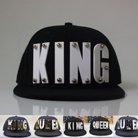 3D Acrylic Letter KING QUEEN Custom Caps Lover Hats Hip Hop Adult Baseball Caps Gorros Studded