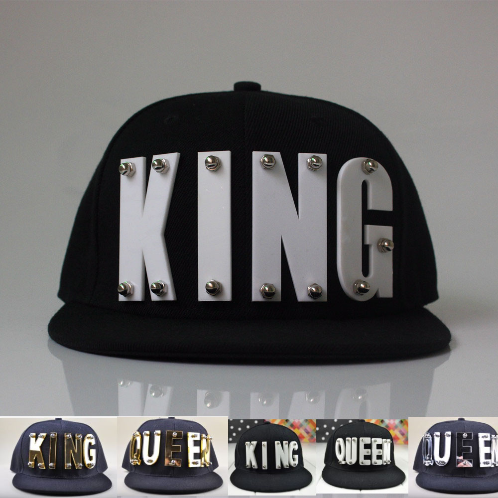 3D Acrylic Letter KING QUEEN Custom   Caps   Lover Hats Hip Hop Adult   Baseball     Caps   gorros studded snapback hats for man women