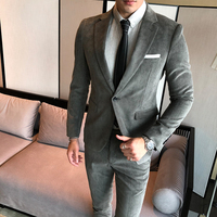 Korean version of the self cultivation gold velvet single button suit suit temperament men and groom holiday gift (shirt + pants