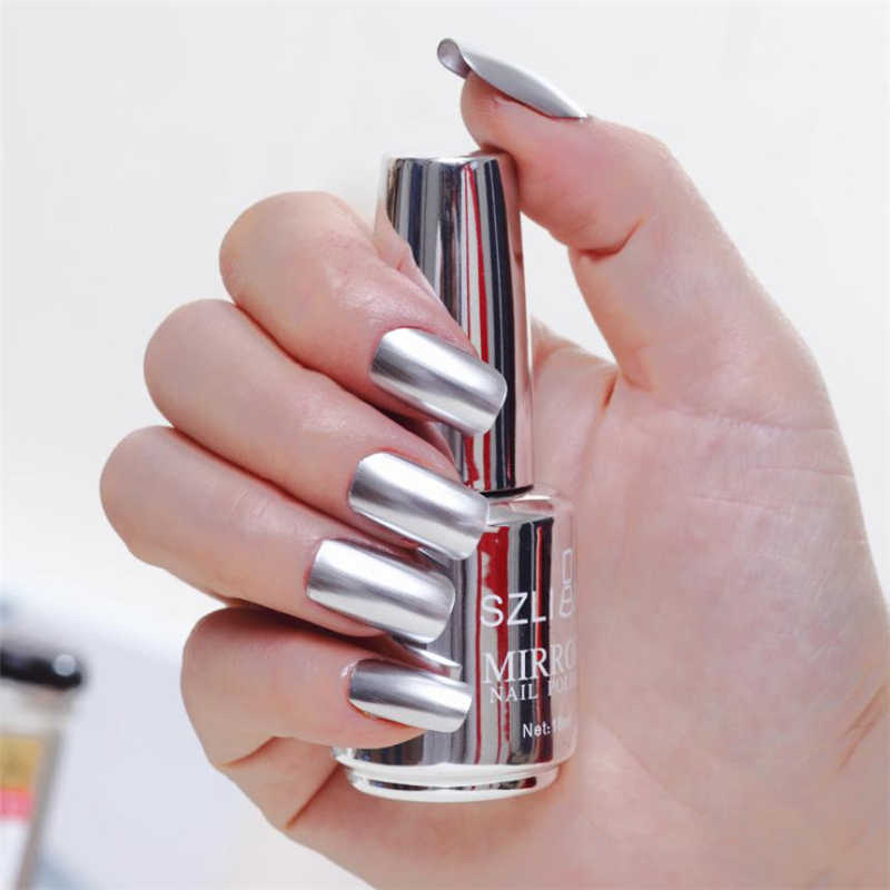 18 Ml 1PC Cat Kuku Metalik Kuku Bahasa Polandia Cermin Chrome Seni Kuku Cat Varnish Esmaltes Permanentes De UV Y LED