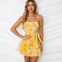 e4ec936ceee Summer Dress 2018 Women Boho Tropical Leaf Print Bohemian Beach Dress Sexy Spaghetti  Strap Backless Ruffle Mini Dress Sundress