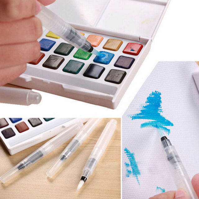 3pc coloring water pen for Watercolor Cake Water Brush Painting Pen ...